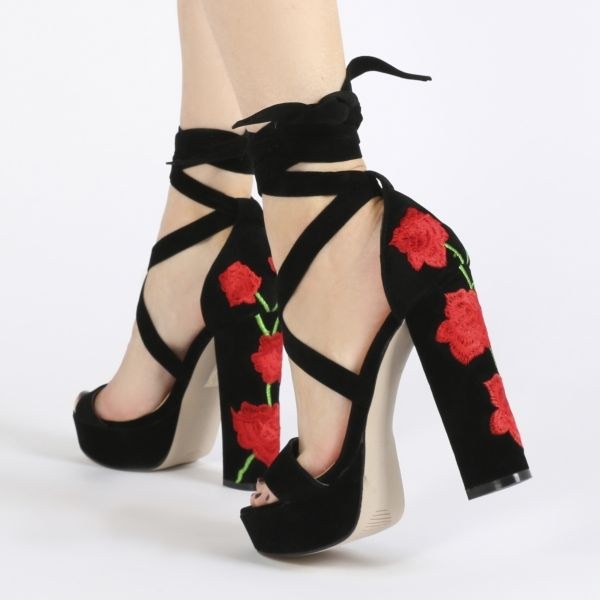 Embroidered Lace-up Chunky Heels
