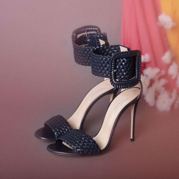 Luxury clothing brand casadei black sandal