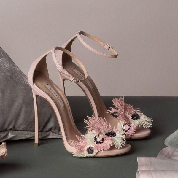 Luxury clothing brand Casadei Feather Heels