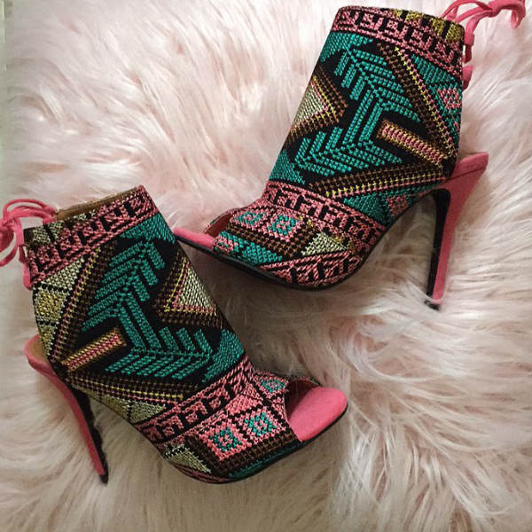 open toe tribal heels