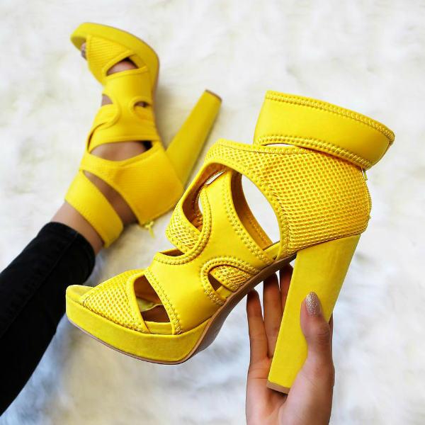 Peep Toe Chunky Platform Heels