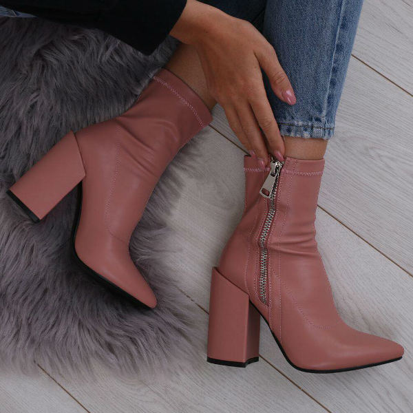 Blush Pink Block Heel Sock Boots