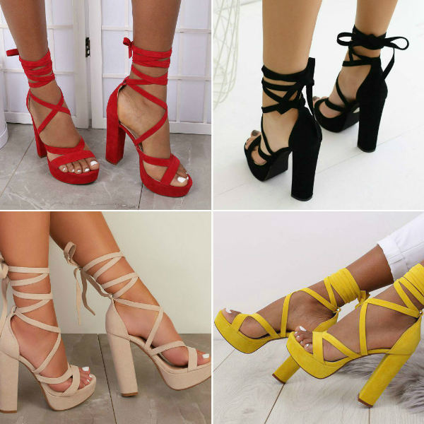 Red Lace-up Block High Heels - Save 20