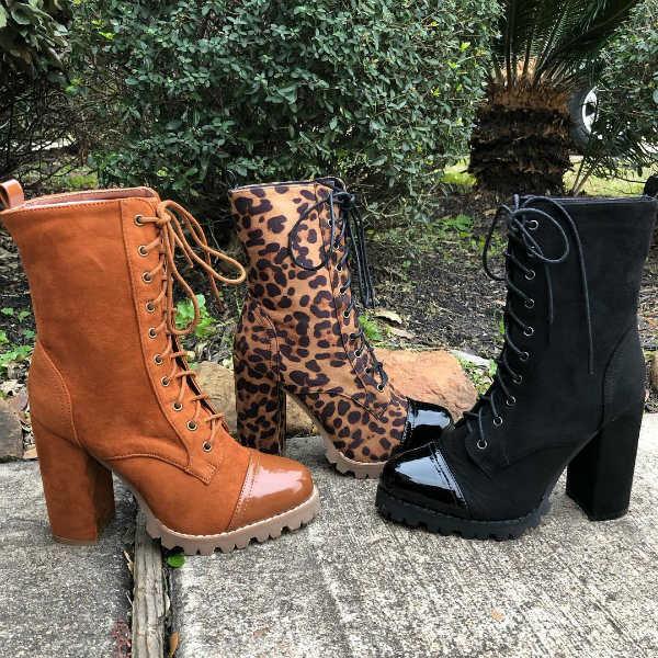 Lace Up Bootie Heels