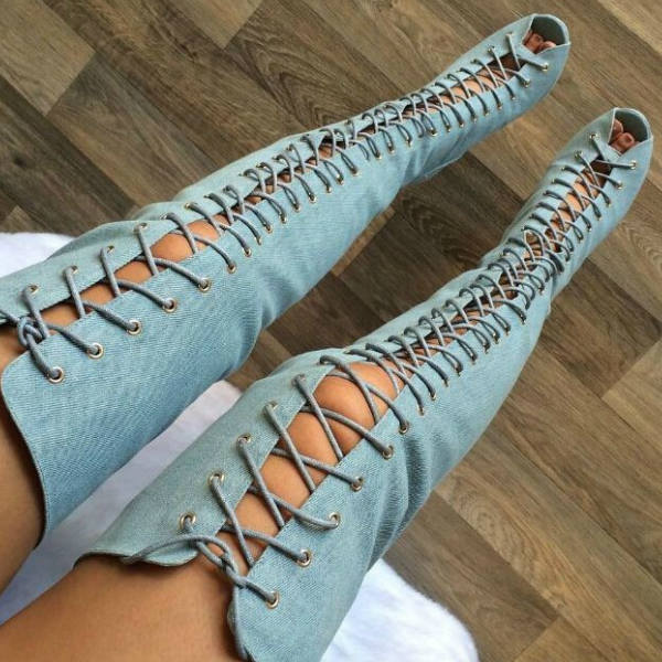 Denim Lace Up Thigh High Boots