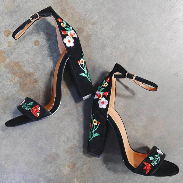 Floral Embroidered Heels