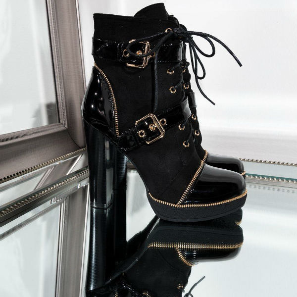 Lace Up Thick Heel Booties