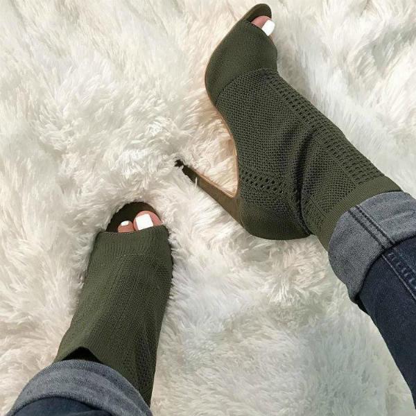 Green Open Toe Stiletto Booties