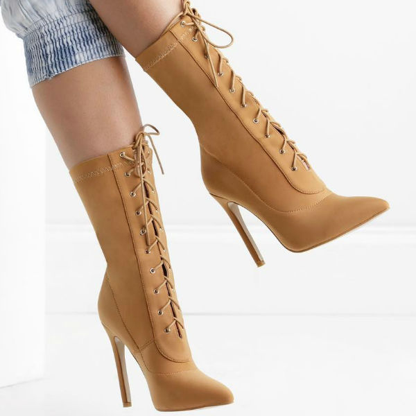 Lace Up Pointed Toe Heels