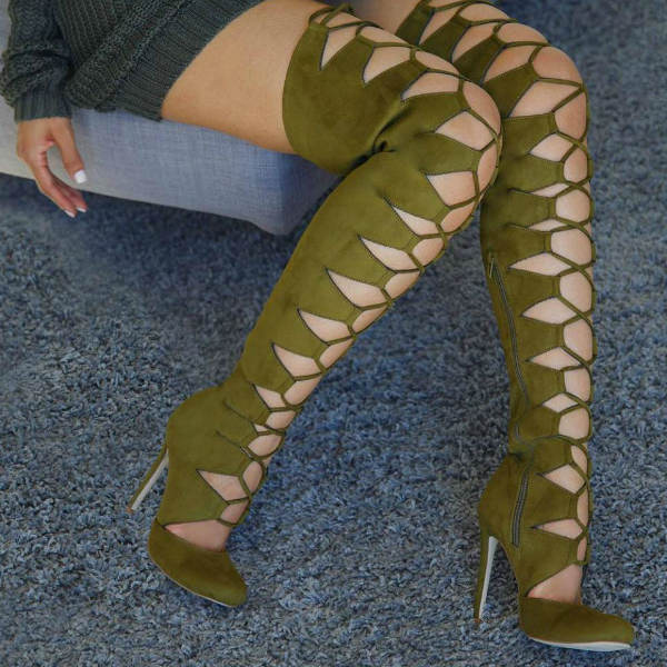 Round Toe Thigh High Boots