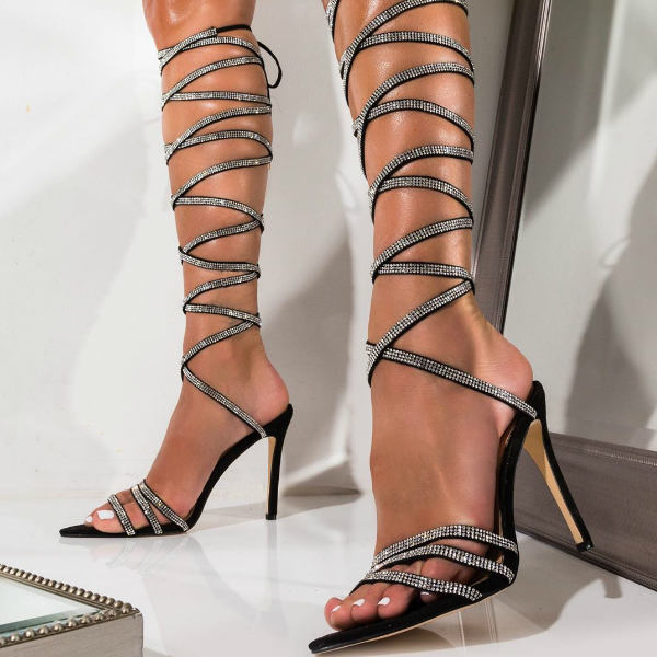 Gladiator knee high heels