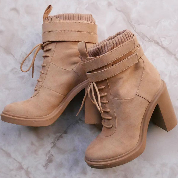 Chunky Lace Up Booties