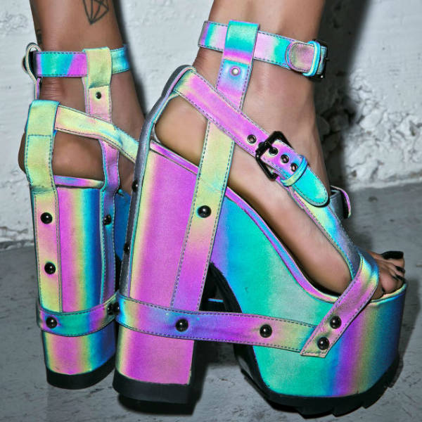 Yru Holographic Platform Heels