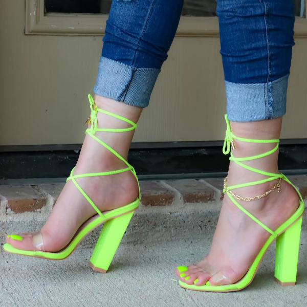 Suede Lace Up Heel