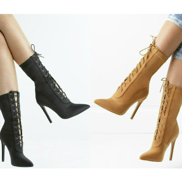 Lace Up Pointed Toe Heels Bootie