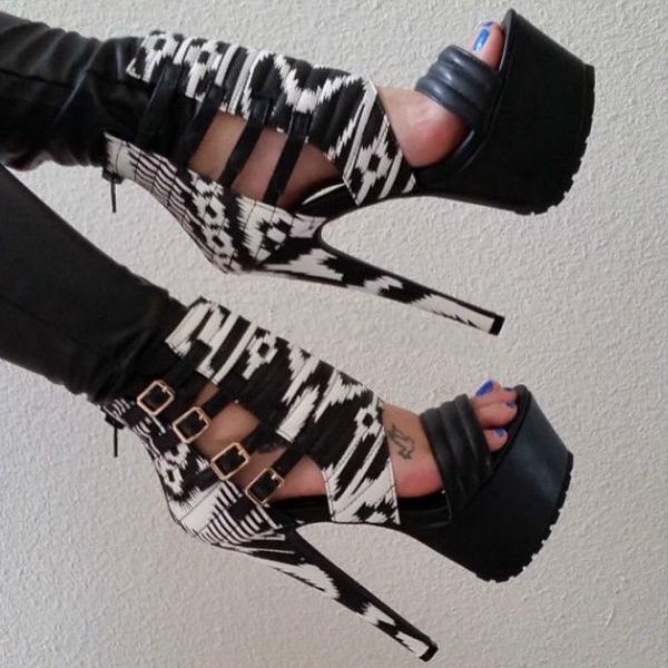 Print Platform Heels