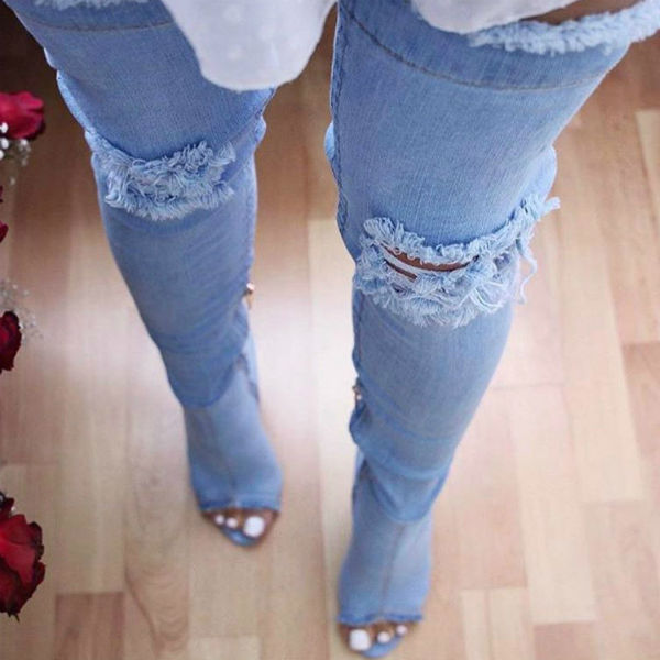 Denim Peep Toe Thigh High Boots
