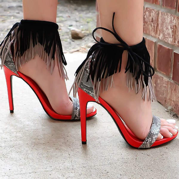 Fringe Sandal Heels