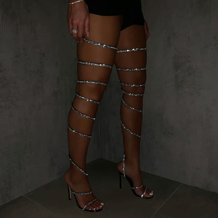 Over The Knee Gladiator Heels
