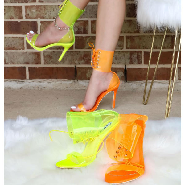 Clear Ankle Cuff Stiletto Heels